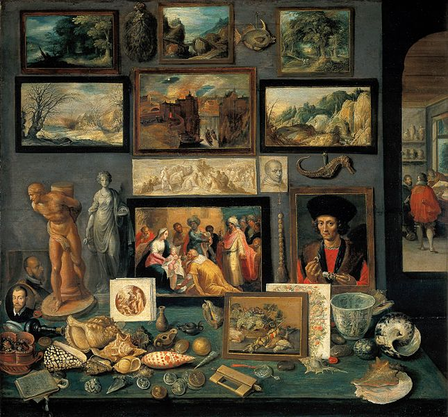 A painting of a cabinet of curiosities