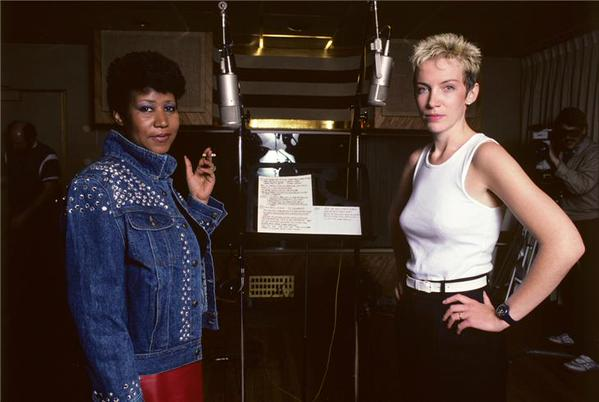 Aretha Franklin and Annie Lennox recording