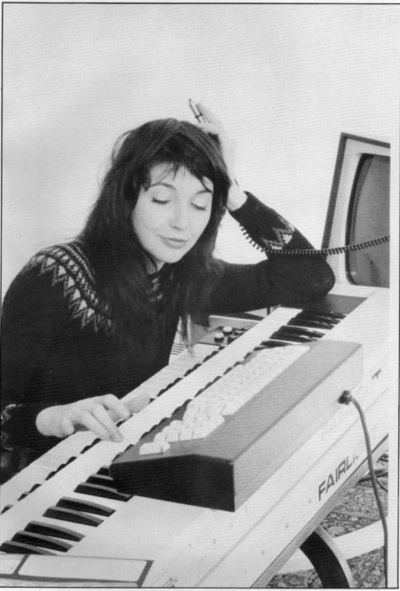 A photo of Kate Bush at a Fairlight synthesizer