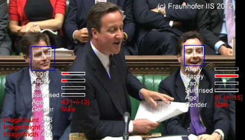 photo of British parliament overlaid with graphics showing algorithmic evaluations of mood