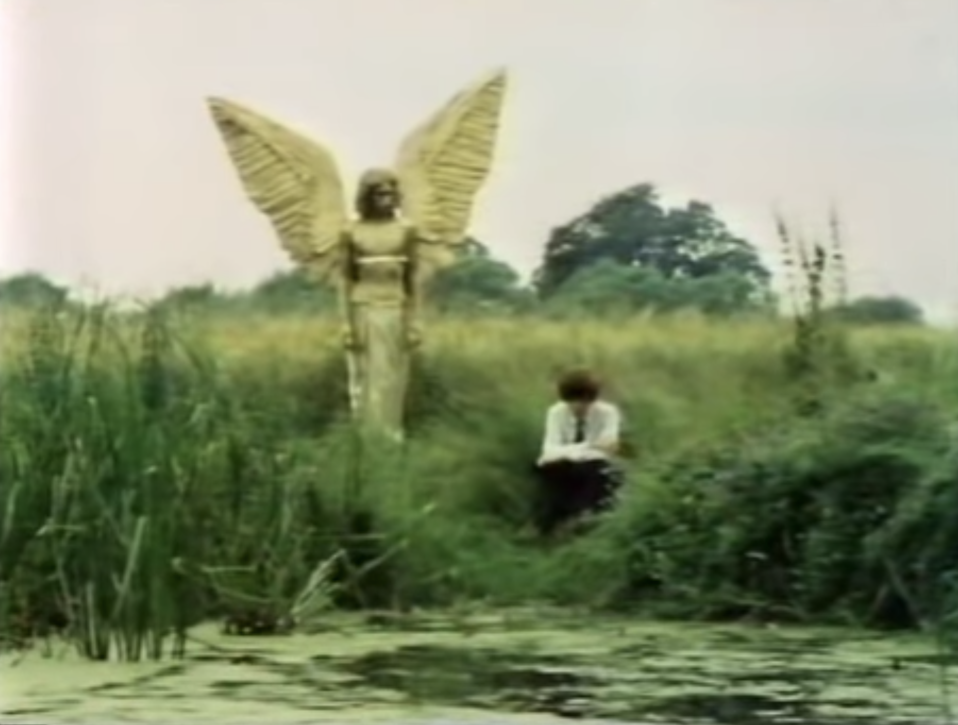 A photo of a boy looking into the water of a fen, not seeing the angel standing near him, watching him.