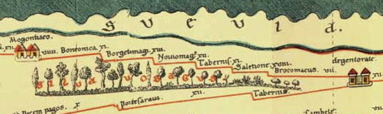 detail of a copy of a Roman map of Europe
